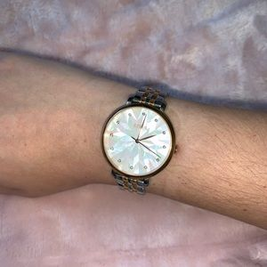 Fossil Rose Gold and Silver Pearl Faced Watch